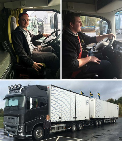 Transportuddannelser-transporttalenter-Mathias-Christophersen-Emil-Larsen-Vikcy-Obel-Volvo-Trucks-Democenter